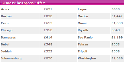Business Class Special Offers